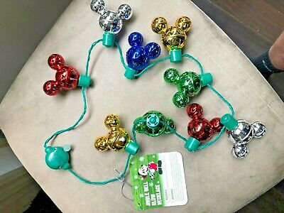 2019 Disney Parks Holiday CHRISTMAS Light Up necklace Mickey Bells ears