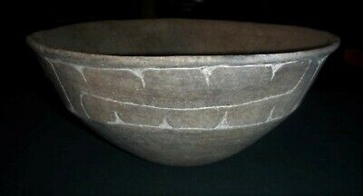 Ancient Native American Indian Caddo Pottery Large Ripley Engraved Bowl - Solid