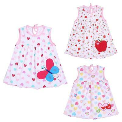 0-2T Spring Summer Infant Baby Girls Sleeveless Cotton Colorful Cute Dress
