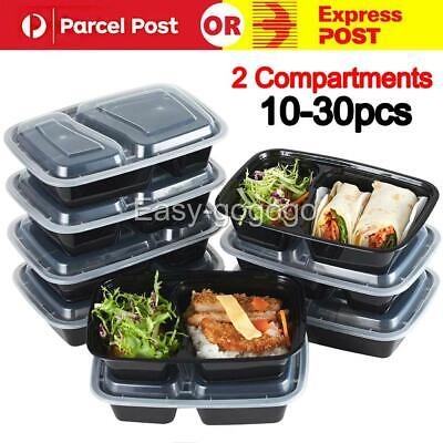 10-30PCS Take away Plastic Food Containers Meal Prep Microwavable Lunch Box AU