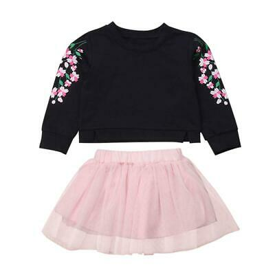 Autumn Kids Girls Clothes Set Long Sleeve Floral Print Tops+Pink Yarn Skirt