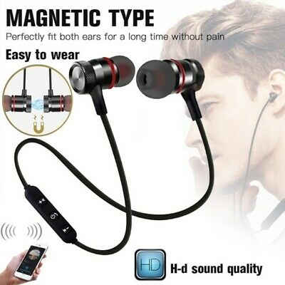 New Bluetooth Headphone Stereo Earphone Headset Wireless Magnetic In-Ear Earbuds