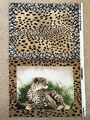 6 x FABRIC FOR MAKING PLACE MATS - WILD ANIMAL DESIGN