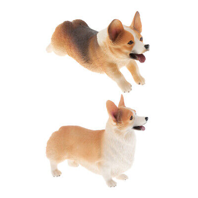 Set of 2 Simulation Welsh Corgi Dog Model Figurines Kids Gifts Ornaments