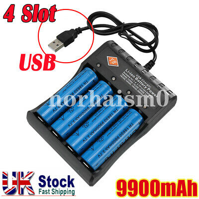 4PCS 3.7V 18650 9900mah Li-ion Rechargeable Battery + 4Slot Charger For Torch UK