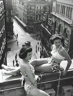 Vintage Old Photo Print of Pretty Women Girls in Bikinis on Highrise Roof Ledge