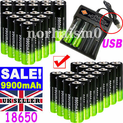 18650 3.7V 9900mAh Rechargeable Li-ion Battery Lithium Cells + Charger UK Seller
