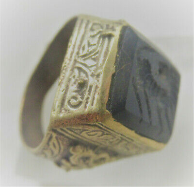 Beautiful Late Medieval Islamic Ottomans Gold Gilded Ring With Agate Stone