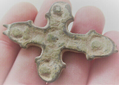 Ancient Byzantine Bronze Cross Pendant, Uncleaned, Needs Further Research
