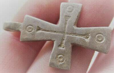 Superb Ancient Byzantine Silver Crusaders Cross Pendant Wearable