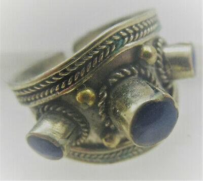 Beautiful Late Medieval Silver Ottomans Signet Ring With 3 Stone Inserts