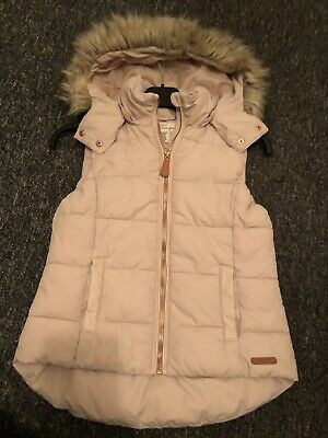 Girls H&M Gillet / Bodywarmer With Fur Trimmed Hood Age 8-10 Yrs