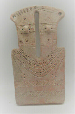 Extremely Rare Ancient Near East Two Headed Terracotta 'Plank' Type Idol 2000Bce