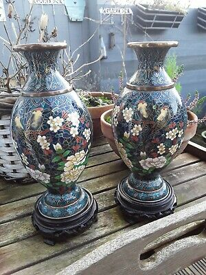 Antique Pair Of Cloisonne Vases With Birds & Flowering Foliage On Wooden Stands