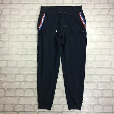 Tommy Hilfiger Ladies Uk Xl Navy Tape Panel Joggers Jogging Bottoms Designer