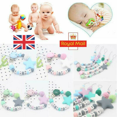 Dummy Clips Baby Boy Girl Teeth Chain Holder Kit Pacifier Teething Strap Bead UK