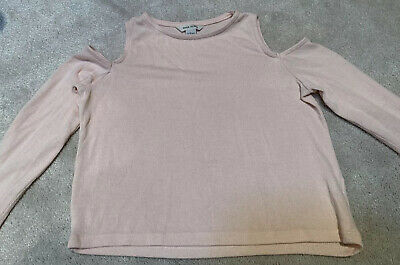 River Island Girls Baby Pink Cold Shoulder Top Jumper Age 5-6 Years