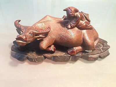 Vintage Chinese Carved Wood Sculpture Of Boy Riding Water Buffalo Ox With Stand