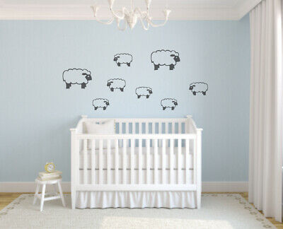 Counting Sheep Kids Boys Girls Baby Bedroom Nursery Removable Wall Sticker Decal