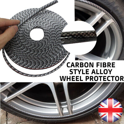 Black Carbon Fibre Alloy Wheel Protector Trim Guard Tyre Rim Halo Blade Saver