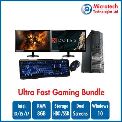 ULTRA FAST Dell Gaming PC Bundle Intel Core i7 8GB 1TB GT710 DUAL SCREEN Win10