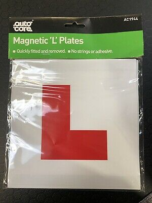 2 x Auto Care FULLY MAGNETIC L PLATES SECURE Quick And Easy To Fix Learner Plate