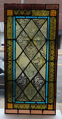 """Antique Mid 19th Century Painted Stained Glass Window Beautiful 18"""" x 37"""""""