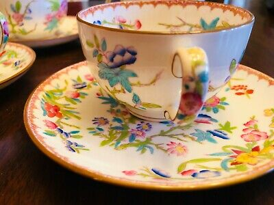 8-pc Antique Wright Tyndale & Van Roden Tea CUP & SAUCER ENGLAND Minton Phila.