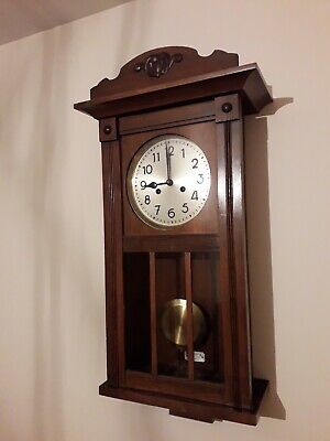 Antique old wall clock Germany mechanism DUFA Etzold&Popitz Largo Gong Wanduhr