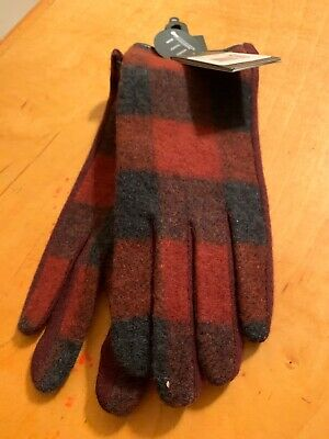 $55 Women's Echo Buffalo  Plaid Wool Cashmere Blend Gloves Size XL #20