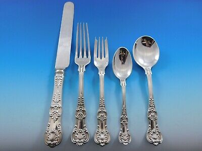 English King by Tiffany & Co. Sterling Silver Flatware Set Service 62 Pcs Dinner
