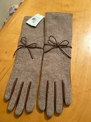 NWT Women's Echo Lambs wool Brown  Long  Gloves Size Large  #23