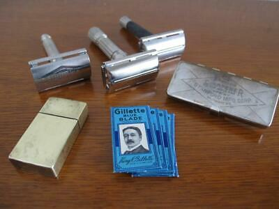 VTG Gillette Safety Razor Shave Lot - Fat Boy - Super Speed - Tech - w/ Blades