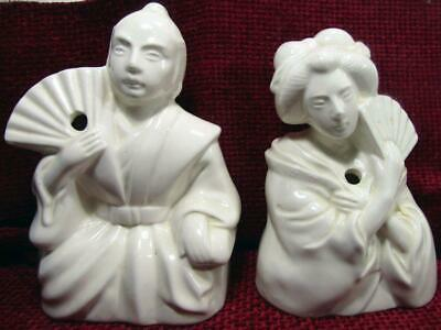 Chinese Japanese Blanc De Chine Porcelain Figurines Incense Holders 17 cm Tall