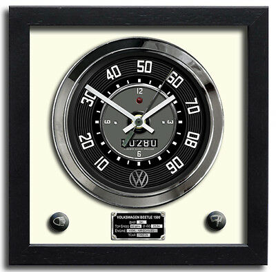 Car Speedometer Wall Clock - VW Beetle 1500 (White) | Christmas Gift