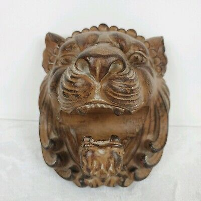 Heather Ann Lion Bust Curtain Rod Holder Tie Back Wood Look USA Made