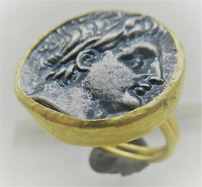 Lovely Ancient Style Gold Plated Ring With Greek Coin Insert