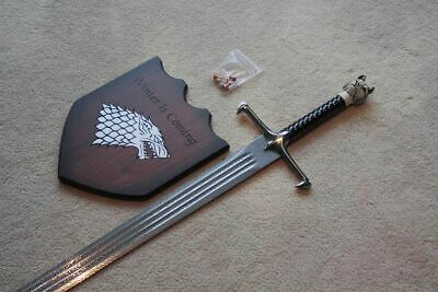 """S5279 Game Of Thrones Longclaw Damascus Sword Of Jon Snow 3 Fullers W/ Mount 42"""""""