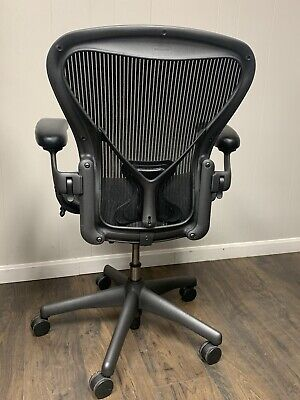 """HERMAN_MILLER_AERON_CHAIR_""""POSTURE_FIT""""_WOW_FULLY_LOADED!!!_Size_B _Graphite"""