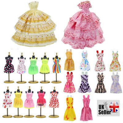 Barbie Doll Clothes Fashion Wedding Party Gown Decor Dress Kids Gifts 12Pcs/Set