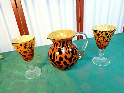 3pc Exquisite Hand Blown Art Glass Weighted Leopard Pitcher & Stemmed Goblet Set