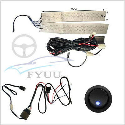 Car Universal 12V Carbon Fiber Heated Steering Wheel+Harness With 6 Shift Switch