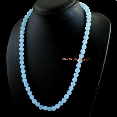 Natural 8mm Blue Chalcedony Gemstone Round Shape Beads Necklace 18''