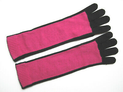 Saks Fifth Ave Fuchsia-Black Cashmere Elbow-Length Gloves Tech-Text Fingers Nwot