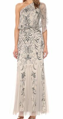 Adrianna Papell Womens Dress Platinum Gray 6 Gown Beaded Embellished $300 023