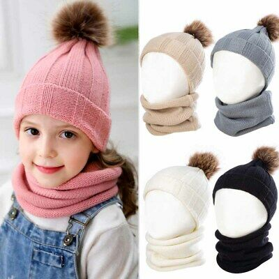 Toddler Baby Girl&Boys Winter Warm Crochet Knit Hat Beanie Cap Scarf Set New