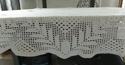 """Vintage Hand Crocheted Tablecloth Or Bedspread~50"""" By 83"""" Approximately ~  White"""