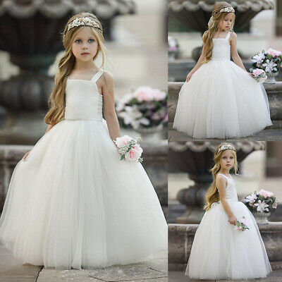 AU Newborn Baby Kids Girl Sleeveless Princess Dresses Party Wedding Pageant Gown