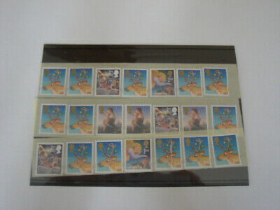 100 unfranked self adhesive 2nd Class Christmas Stamps off paper,original gum