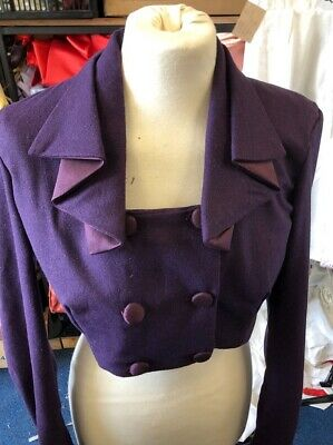 Mulberry Wool Flannel Regency Style  Spencer with Waterfall Collar